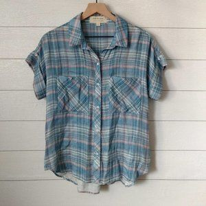 Cloth & Stone Plaid Flannel Button Down Top S